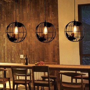 Earth Shape Industrial Vintage Style Chandeliers Simple Wrought Pendant Hanging Ceiling Lamp For Indoor Round Chandeliers