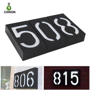 Солнечная дверь номерной светлый цифровая гостиница Адрес номера дома знаки налета водонепроницаемый настенный крепление 0123456789 Номерная пластина светодиодный свет