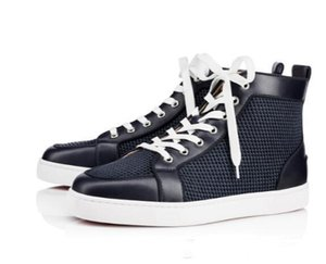 Christian\u52aa Louboutin CL 2020 New Factory Wholesale Genuine Leather Pik Spikes Sneakers Red Bottom Shoes High Top Men CasualMNHJ15