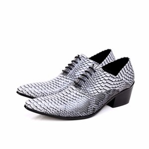 New Pointed Toe Men Oxfords Shoes Genuine Leather Men Shoes Snakeskin Wedding Formal Dress Shoes Lace Up Brogues