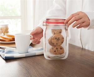 Mason Jar Art-Reißverschluss Lagerung Lebensmittelkonservierung Tasche Frischhaltung Beutel für Biscuit Snacks Kinder Essen
