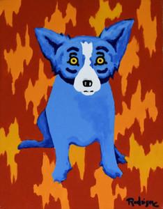 George Rodrigue Mavi Köpek İmzalı Yapıt 2003 Ev Dekorasyonu Handpainted HD Yağ Tuval Wall Art Canvas Pictures 200111 On Boyama yazdır