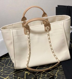 20 new women's handbags high-end custom quality leather spliced canvas large empty shopping bags very practical beach bags fashion style
