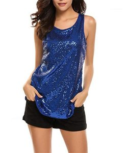 Night Club Tshirts Womens Sequins Crew Neck Vest Summer Designer Solid Color Sleeveless Split Tees Females Backless Sexy