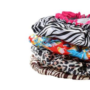 Belle Imprimé Femmes Bonnet de douche en satin Caps coloré de bain couverture cheveux double imperméable bonnet de bain