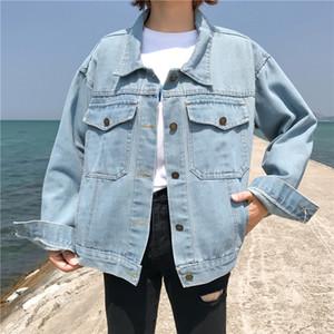 Womens Denim Jacket 2019 Moda Oversize soltas manga comprida Jeans Brasão Retro Cowboy Denim solto bolso Casual Jacket Windproof