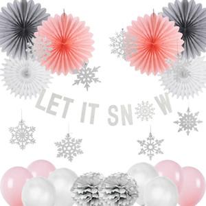 Noel Dekorasyon Seti Pembe Let it Kar Kiti Kağıt Kar Tanesi Fanlar Navidad Yeni Yıl Süsleri Yeni