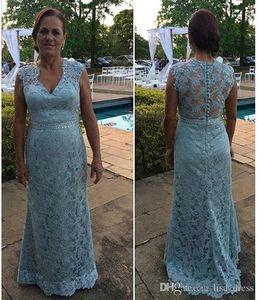 Madre Blue Sky Pizzo della sposa si veste per Matrimoni Plus Size Cristalli V Neck Sash partito delle donne da sera formale abiti abiti da sposa