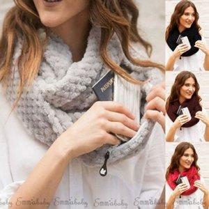 Mujeres Winter Infinity caliente Círculo del tejido en cable de la capucha de Navidad pañuelo de cuello Anillos multifuncionales