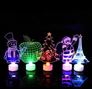 Creative LED Père Noël Night Lights flash coloré acrylique Luminescence 3D Stereo Night Lights Toy cadeau