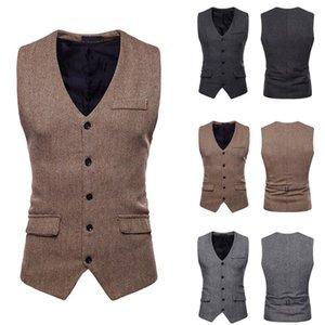 Colete Formal Solid Color Style Waistcoat Tops Vest Business Men's Vest Breasted Short Slim Waistcoat Chalecos Para Hombre B1