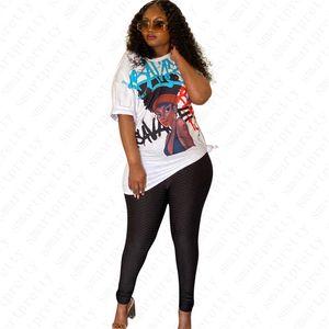 Le nuove donne di modo della stampa di disegno della maglietta a maniche corte Oblique spalla collare camicetta sexy Pullover Top Girls estate casuale D52513 lunga Tees
