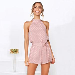 Bekleidung Sommer-Frauen-Tupfen-Body Sexy Backless Printed Shorts Jumpsuits cooles Stück Hose beiläufige Art und Weise