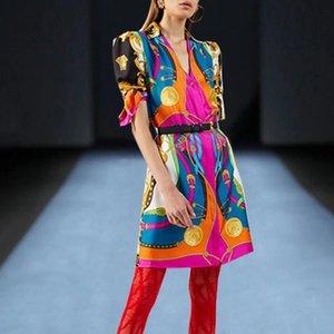 L'Europe et les États-Unis 2020 printemps et modèles de passerelle été de haute qualité imprimé couture robe de ceinture