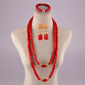 bijoux naturels corail rouge ensemble pour les hommes de perles de corail de mariage africain pour les femmes nigeria perles corail T200507 set bijoux