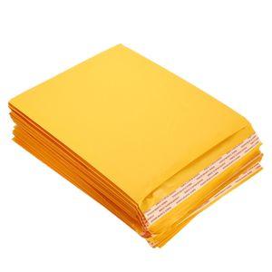 10 PCS / Lot Bubble Enveloppes Mailer Courrier Sacs de rangement d'or enveloppes à bulles Enveloppes de coussin jaune pour l'envoi d'emballage