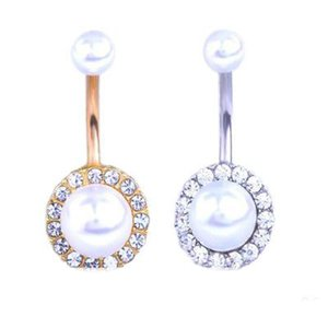Pulsante di Bell Rings Anti Allergia perla anello dell'ombelico tasto dell'ombelico speciale per le donne zircone ombelico chiodo transfrontaliera