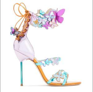 صوفيا ويبستر أجنحة الفراشة النساء أحذية عالية الكعب ربطة الصيف الصنادل المرأة وأشار اصبع القدم أحذية الكاحل حزام مضخات