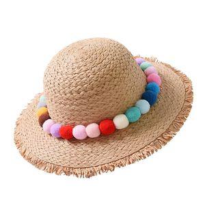 Summer Handmade Color Ball Raffi Straw Hat Women Chapeu Boater Hat Beach Sun Cap For Girl Pure Natural Hand Straw Hat