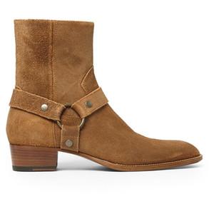 Sıcak Satış-Tozlu Tarçın Tan Süet Biker Boots Süet Deri Ayak Bileği Erkek Botları Menace Eril Fermuar Up Düşük Topuk Zapatos Ayakkabı