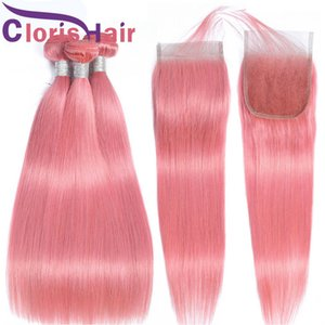 Pink Colored 4x4 Top Closure And Extensions Silk Straight Peruvian Virgin Human Hair Weave 3 Bundles With Lace Closure Pre Plucked Baby Hair