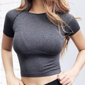 Nepoagym Quick Dry Women укороченный бесшовный топ с коротким рукавом женская тренировка топы спортивная одежда для женщин тренажерный зал Сексуальная рубашка