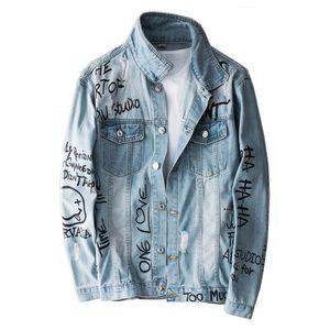 High Street Femininos Mcikkny Ripped Denim jaquetas e casacos Lavados padrão impresso Jeans Casacos Outwear por Homem Streetwear