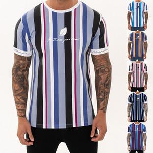 2019 New Mens Summer Striped T-Shirt Turnhallen Kurzarm T-Shirt Lässige Mode Hip Hop Tees Bodybuilding Slim Jogger Tops Shirts