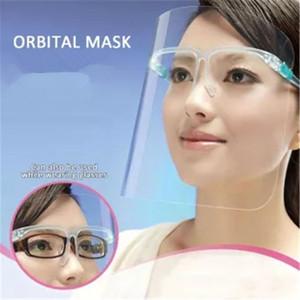 Stati Uniti Stock 50 pc PET Holder Visiera con occhiali di sicurezza Oil-Splash Proof Anti-UV Protective face mask copertura trasparente facciale della mascherina di vetro