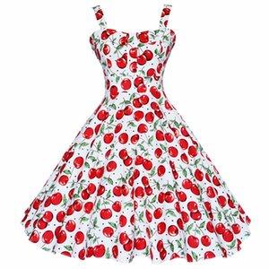 Joineles اللباس الصيف خمر الغريب من نوعه اللباس Jurken 60S 50S ريترو الكبير سوينغ الزهور Pinup المرأة أودري هيبورن Vestidos
