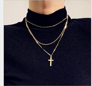 Jewelry Retro Cross Multi-layer Necklace Women's Fashion Simple Business Baitao Clavicle Chain