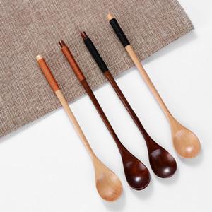 Colheres de madeira Grande Cabo longo Colher Crianças colher de pau arroz Sopa Sobremesa Arca mistura Louça 20 x 3cm