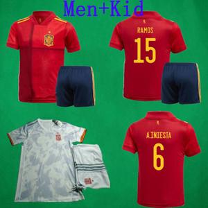 2020 Espagne Soccer Jersey 20 21 RAMOS Morata INIESTA THIAGO SAUL football enfants Shirt Man Football Kit España Camisetas De Futbol Football Jeux