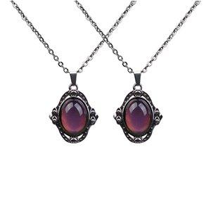 Lot de 2 pendentif ovale en pierre Multi Color Change Emotion Mood Pendentif chaîne Bijoux Collier