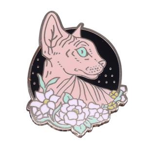 Sphynx spilla gatto e fiori simpatico gatto senza peli cat perno smaltato bottoni floreali distintivo accessorio animale creativo regalo Meow per lei