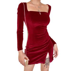 Frauen-Fall-Winter Bodycon Partei-Minikleid Mode Fantasie freien Hülse Split Strapless Off Schulter Kleider Elegante Kleidung Femme