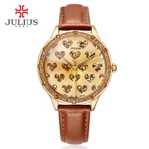 Julius Logo Lady Crystal Heart romantique pour la Saint-Valentin Montre cadeau Genève Montre-bracelet étanche à la main Horloge Heure Reloj JA-851