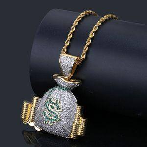 Hip Hop US Money Bag Stack Cash Monete Ciondolo Collane 18 K Oro Ghiacciato Bling Cubic Zircone Collane Uomini Fascino Gioielli Regali