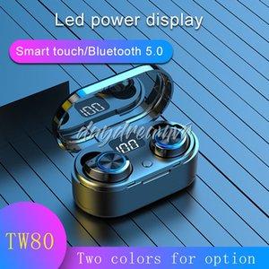 TW80 TWS جيب بلوتوث لاسلكية سماعة ستيريو HIFI الصوت والموسيقى مصغرة سماعة مع هيئة التصنيع العسكري بطارية العرض LED للهواتف الذكية عالميا