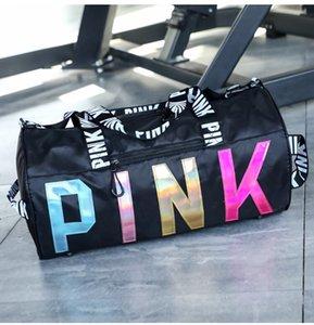 핑크 여행 스포츠 가방 방수 피트니스 레이저 장식 조각 휴대용 어깨에 매는 가방 사용자 정의 로고 스토리지 가방