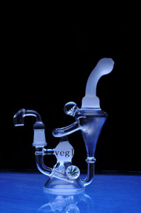 Heady Thick Glass Bongs Hookah Double Recycler Glass Water Pipe Unique Chamber Beaker Base Flower Decor with 14mm Joint Male 7.8Inch Tall