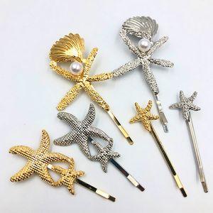 Multistyle Starfish Shell Hair Clip Metal Starfish Barrettes Oro Plata Moda Accesorios para el cabello Regalo para el amor