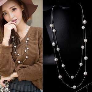 2020 Новый Cute Love Long Double Layers цепи Имитация Pearl Шарм ожерелье для женщин ювелирные изделия Statement подарок