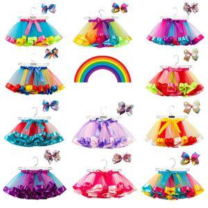 15 цветов ребёнки Пачка платье конфеты цвета радуги сетки Детские юбки + лук заколки 2pcs / набор малышей праздники танца платья Tutus одежды M576