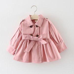 New Vêtements pour enfants Fille d'automne Princesse Manteau de couleur unie moyen à long unique Trench-vêtement bébé
