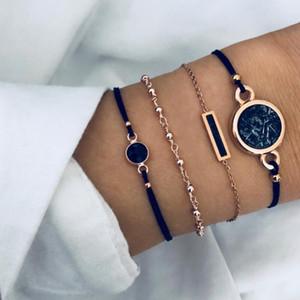 Multicamadas pulseiras 4pcs / set Preto Turquoises Pattern Chain Bangle Pulseiras Projeto Mulheres Bohemian Corda Stacking Bracelet