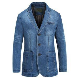 Новая весна и осень Mens Denim Jacket Бизнес Повседневный хлопка куртки костюм Тонкий сплошной цвет Большой размер Мужские пальто