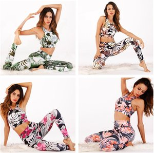 Women's new digital print vest pantsuit Sport suit yoga pants fitness suit Running clothing Workout clothes