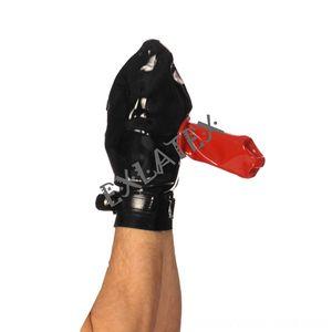 Latex & Mittens Hats, Scarves & Ball Gloves Wanking Sheath Mitt with Adjustable Strap Fingerless Gauntlet Latex Rubber Gloves Fetish 08mm
