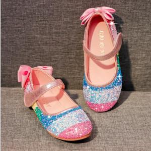 Princesse Chaussures pour enfants Filles PU Fashion Glitter enfants Sandales Filles Wedding Party Chaussures bowknot Noir Rose Livraison gratuite